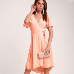 Lulu's Peach Hi-Lo Mid Dress